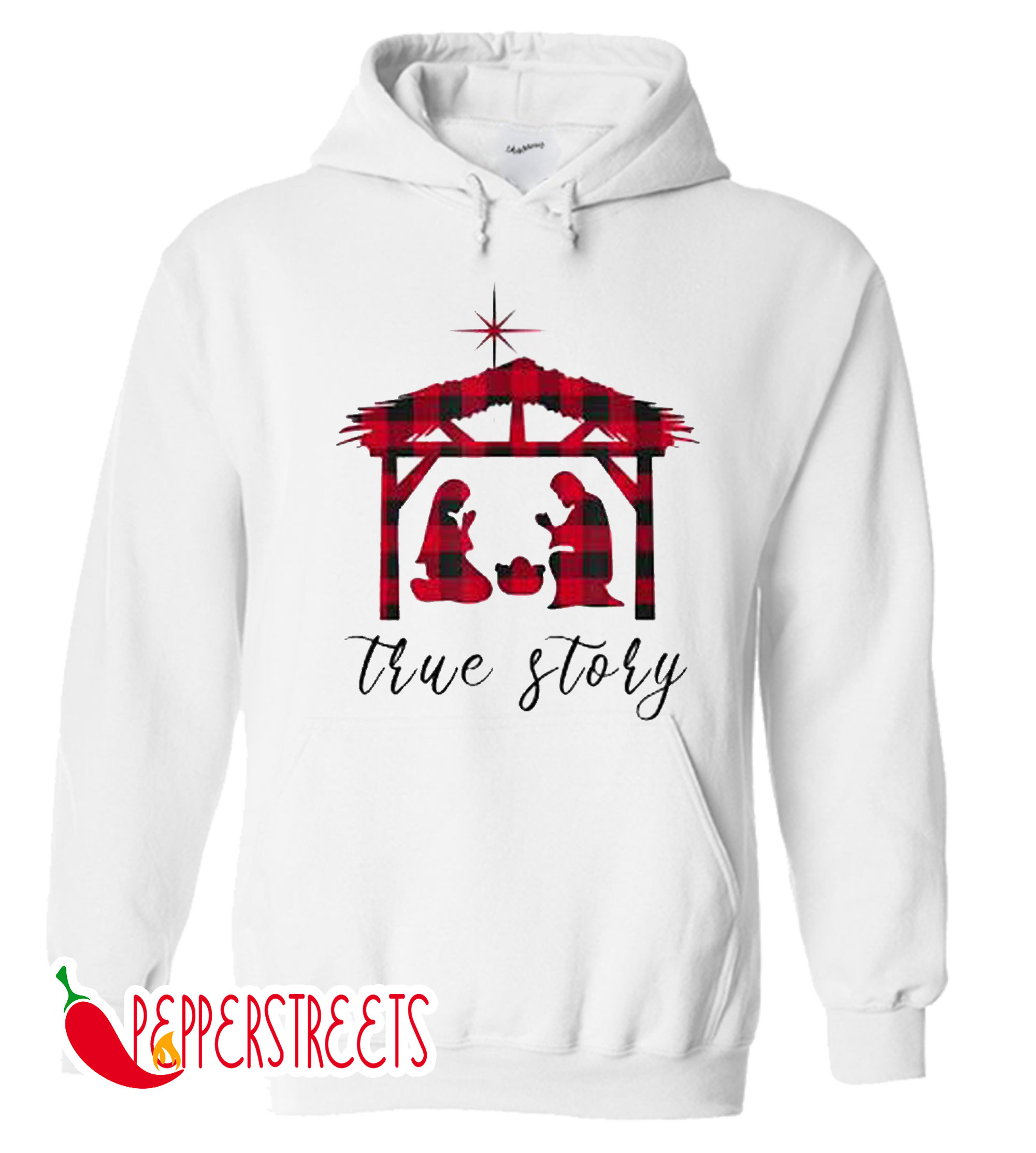 Nativity True Story Jesus Birth Buffalo Plaid Hoodie