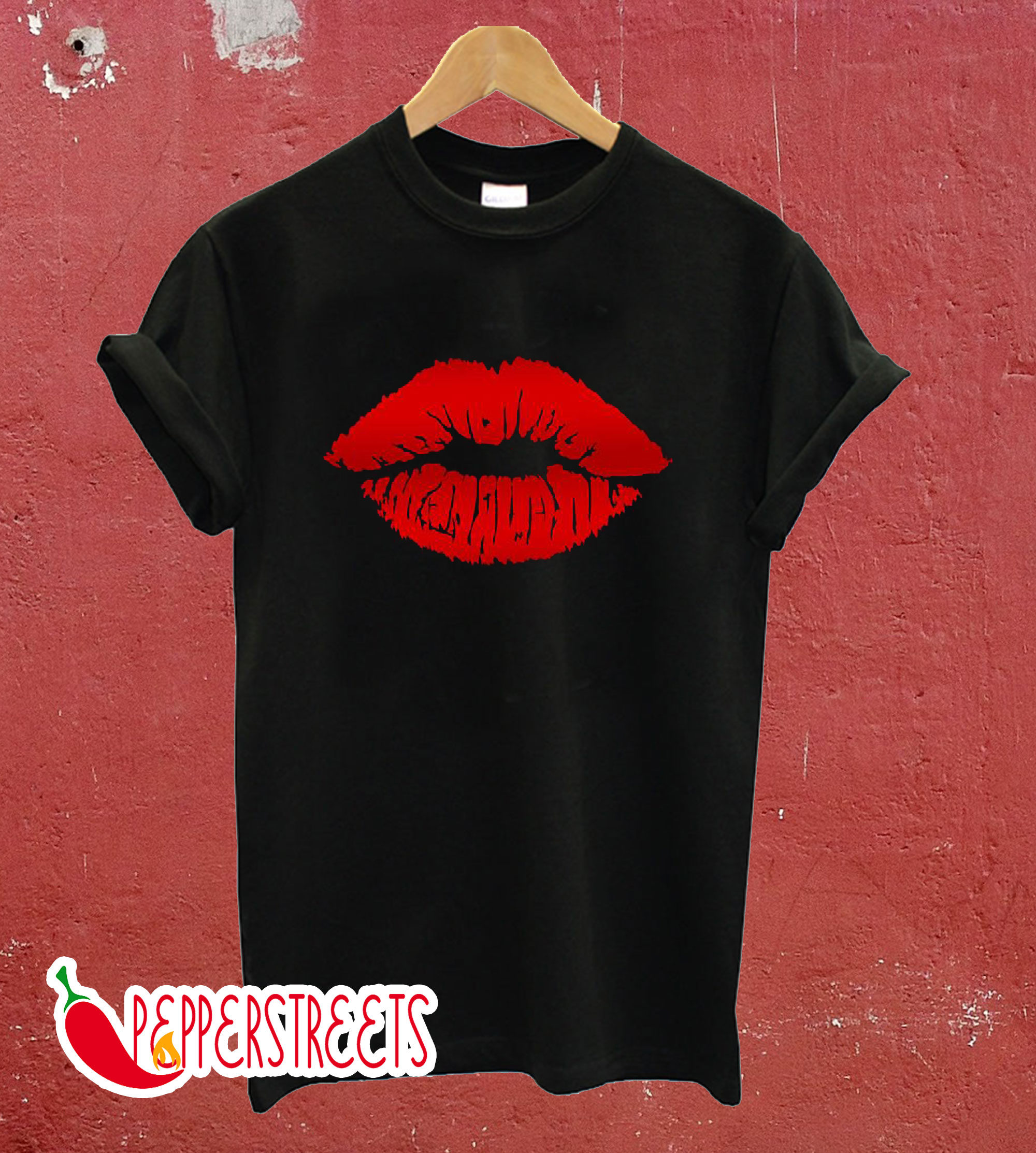 Red Lips Black T-Shirts