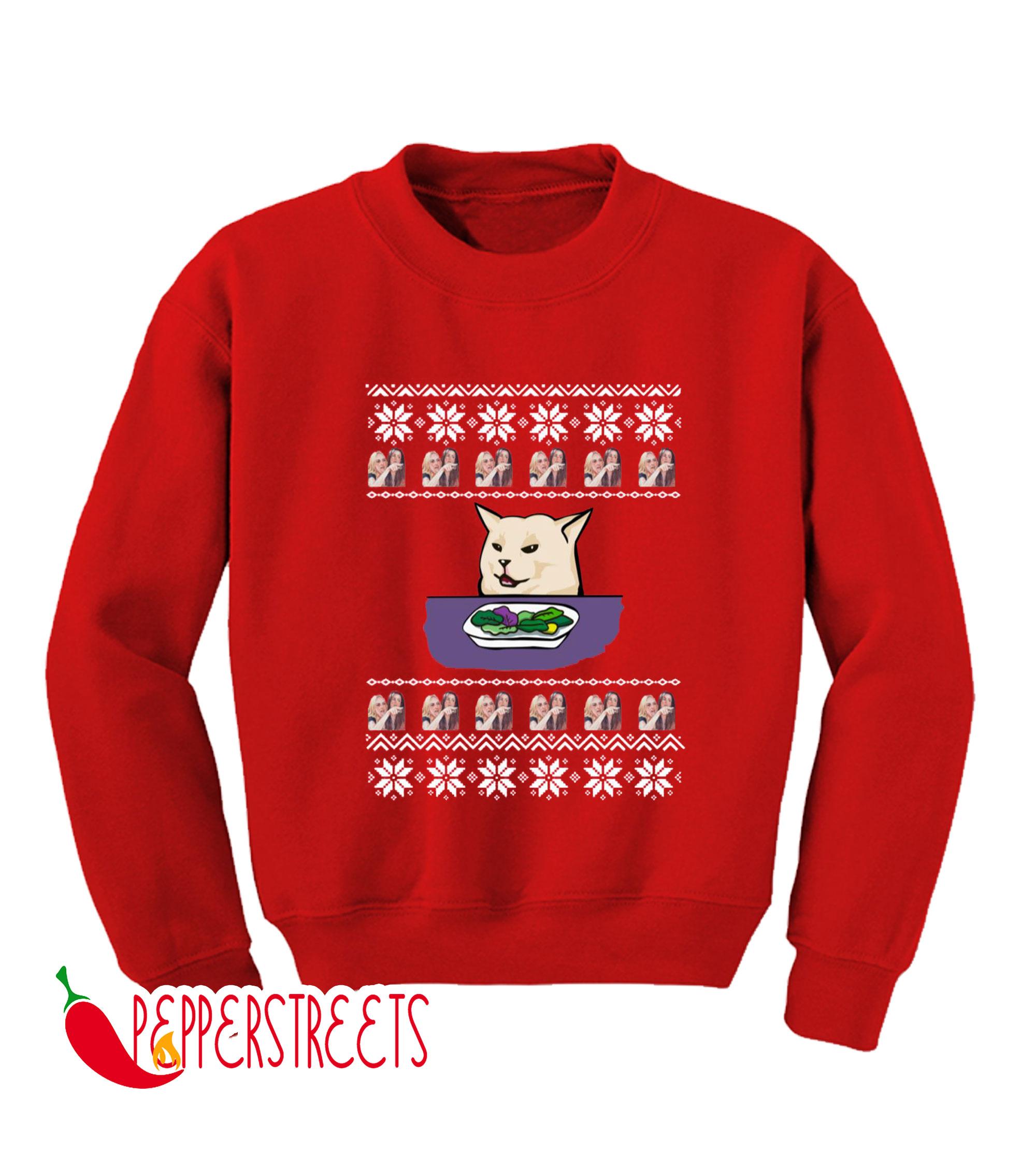 Woman Yelling Cat Meme Merry Cristsmash Sweatshirt