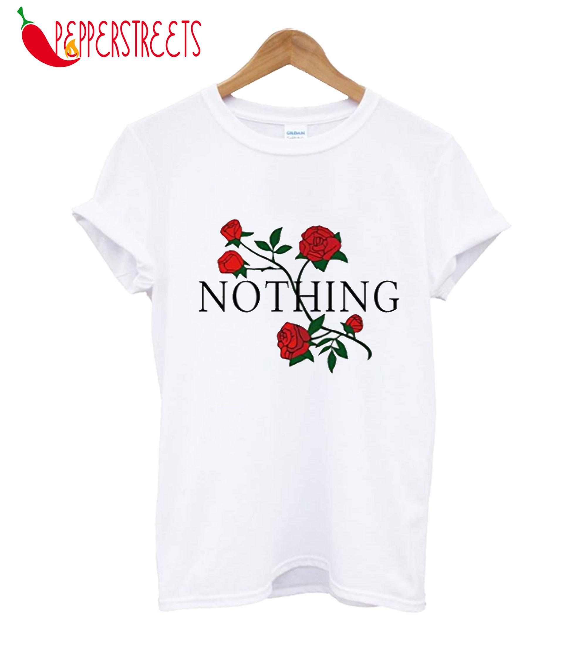 Women Summer Nothing Rose Print Short Sleeve T-Shirt