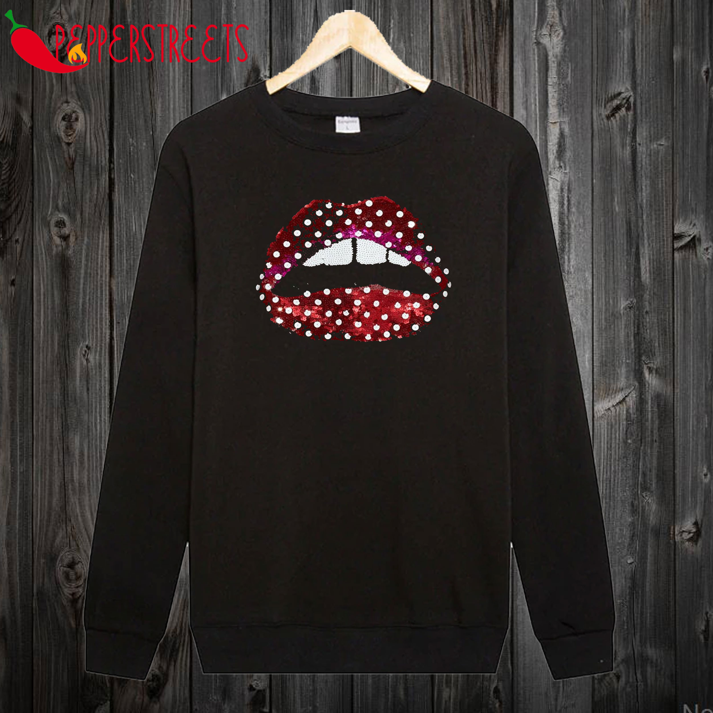 Zoe Ball Sequin Polka Dot Lips Sweatshirt