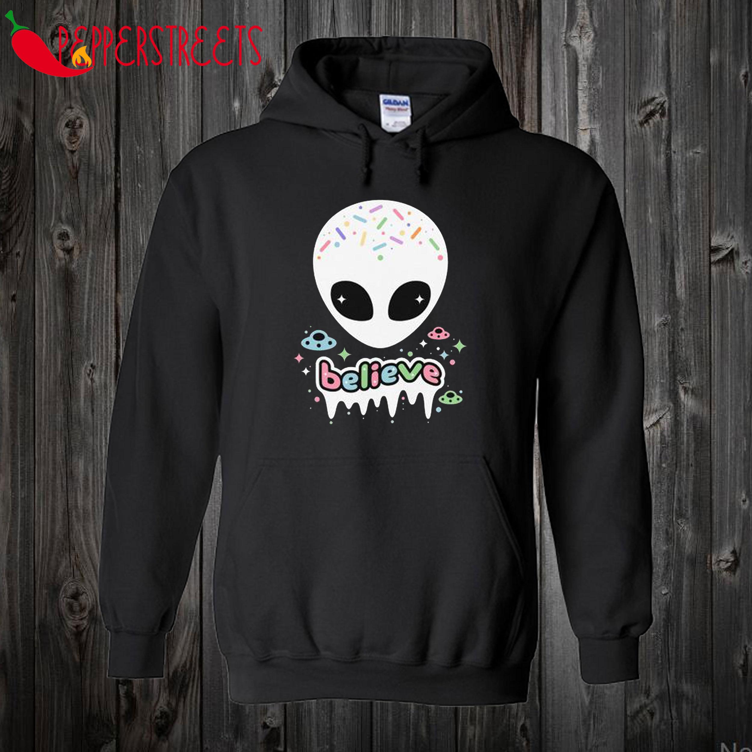Believe in Aliens Space Grunge Hoodie