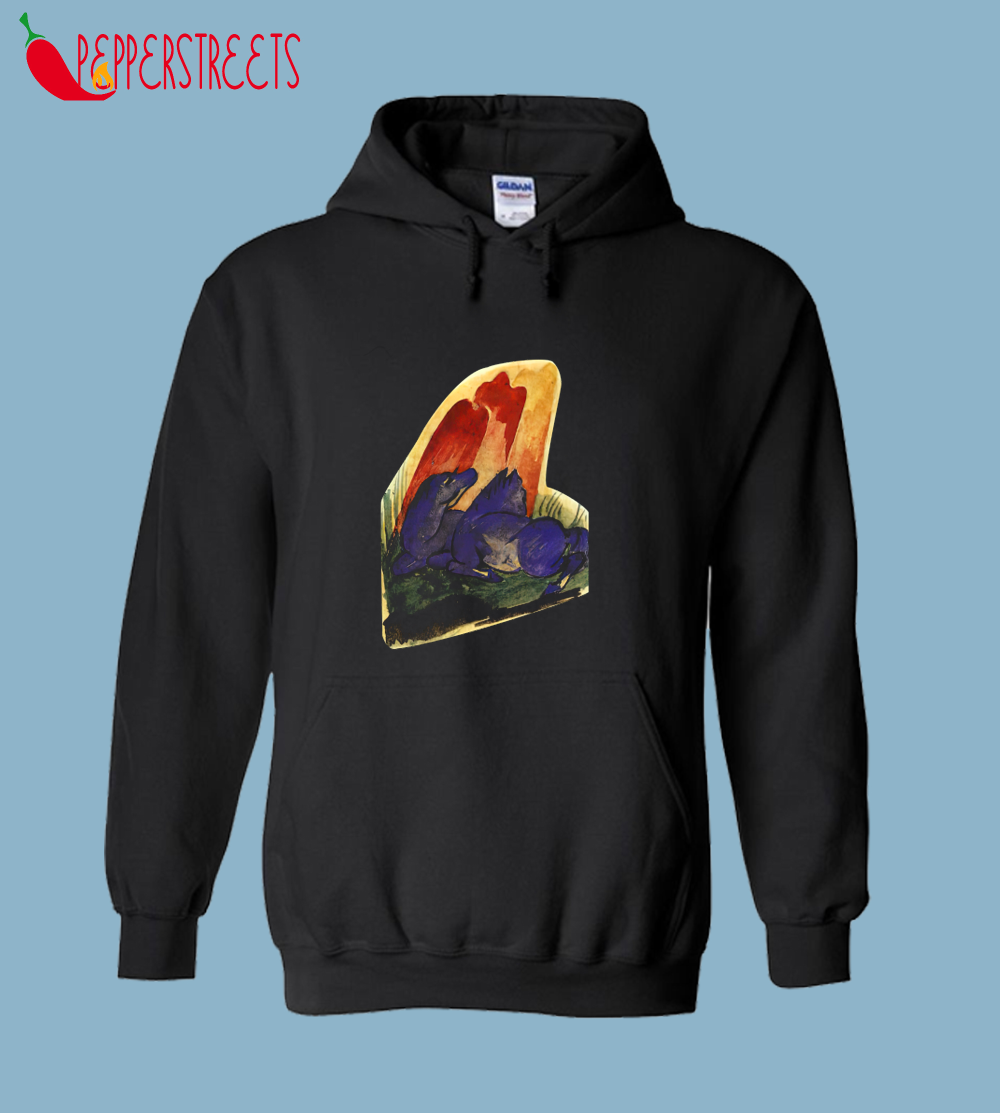 Two Blue Horses in Front of a Red Rock, Franz Marc Hoodie